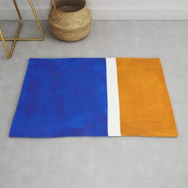 Phthalo Blue Yellow Ochre Mid Century Modern Abstract Minimalist Rothko Color Field Squares Rug
