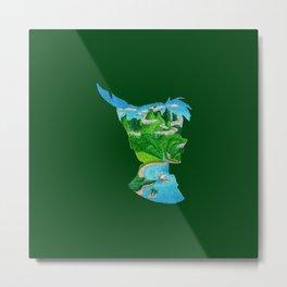 Watercolor Silhouette Neverland Metal Print