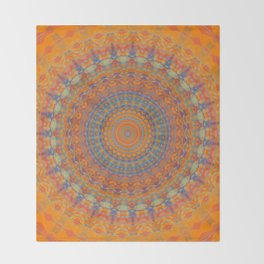 Bright Orange Blue Mandala Throw Blanket