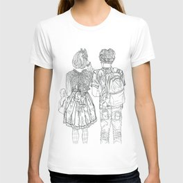 Geometric Japanese Black and White Linework Love couple T-shirt