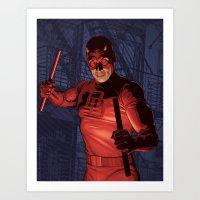 daredevil Art Prints featuring Daredevil by Arne AKA Ratscape