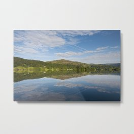 Stillness and clear reflections at sunrise on Grasmere, Lake District, Cumbria, UK Metal Print