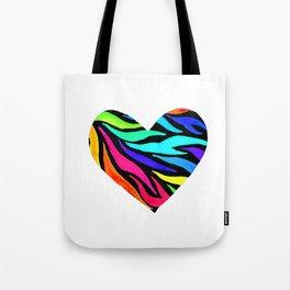Rainbow Zebra Print Heart! Tote Bag