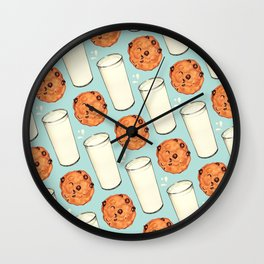 Milk & Cookies Pattern - Blue Wall Clock