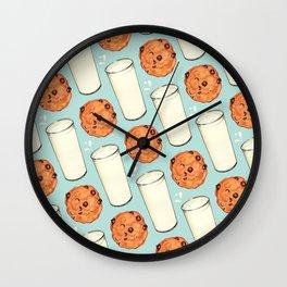 Milk & Cookies Pattern - Blue Wall Clock