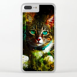 cat turquoise eyes splatter watercolor Clear iPhone Case