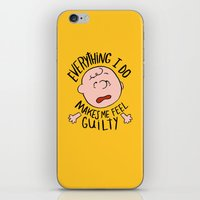 charlie brown iPhone & iPod Skins featuring CHARLIE BROWN by Josh LaFayette
