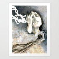 cigarettes Art Prints featuring Coffee & Cigarettes by Jana Heidersdorf Illustration