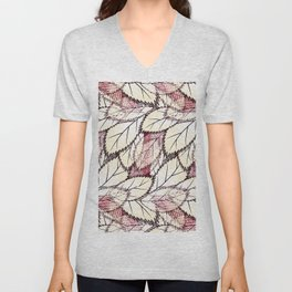 Delicate openwork leaves on a white , light brown background. Unisex V-Neck