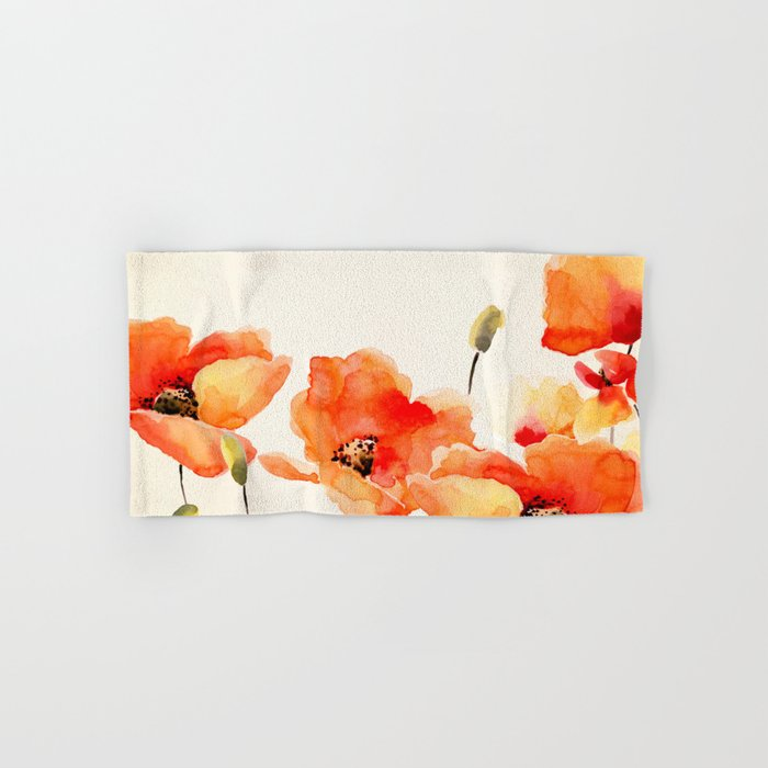 Poppy Flower Meadow- Floral Summer lllustration Hand & Bath Towel