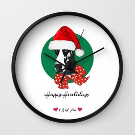 Happy Howlidays-I Wuf You Great Dane Wall Clock