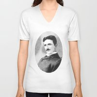 tesla V-neck T-shirts featuring Nikola Tesla by Daniel Point