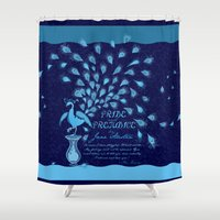 pride and prejudice Shower Curtains featuring Paisley Peacock Pride and Prejudice: Classic by DoodleHeadDee