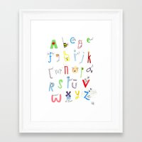 alphabet Framed Art Prints featuring Alphabet  by Maxine Lee-Mackie
