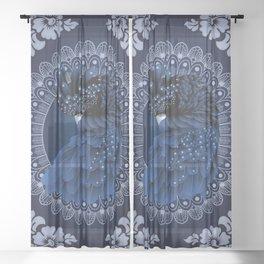 Decorative Australian Cockatoo in Blue Sheer Curtain