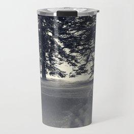Spruce Trees with Footpath in Powder Snow Travel Mug