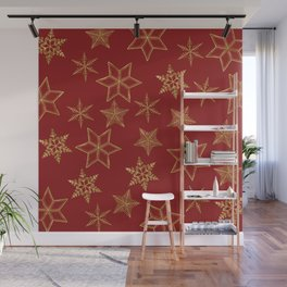 Snowflakes Red And Gold Wall Mural
