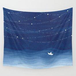 Follow the garland of stars, ocean, sailboat Wall Tapestry