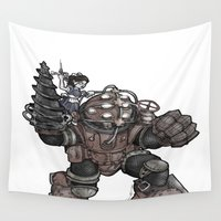 bioshock Wall Tapestries featuring Big Daddy & Little Sister by Chris Thompson, ThompsonArts.com