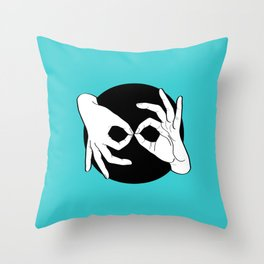 Sign Language (ASL) Interpreter – White on Black 11 Throw Pillow