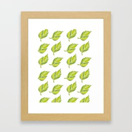 Green Leaf Water Color Framed Art Print