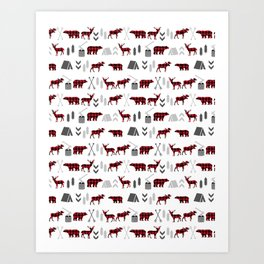 Camping cabin life chalet all day plaid moose deer bear pattern outdoors nature lover Art Print