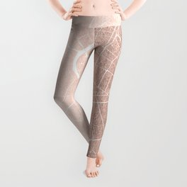 Bangkok Thailand Minimal Street Map - Rose Gold Pink and White II Leggings