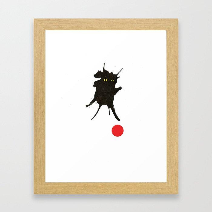 cat with ball #2 Framed Art Print