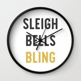 Sleigh Bells Bling Christmas Design Wall Clock