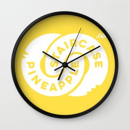 PineappleStaircase   Official Logocolor 2016 in Yellow/White Wall Clock