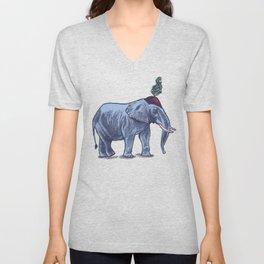 Elefante // melancholic circus elephant Unisex V-Neck