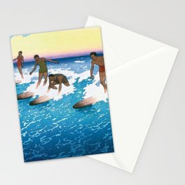 Hawaii Surf Riders Honolulu landscape painting by Charles William Bartlett Stationery Cards
