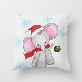 Christmas elephant Throw Pillow