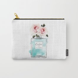 Perfume, watercolor, perfume bottle, with flowers, Teal, Silver, peonies, Fashion illustration, Carry-All Pouch