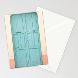 Blue Door and Pink Millennial wall, Pastel Retro Stationery Cards