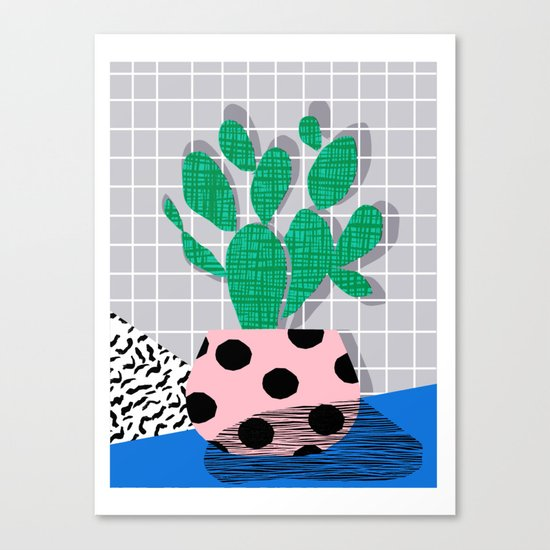 Iffy - cactus desert palm springs socal memphis hipster neon art print abstract grid pattern plant Canvas Print