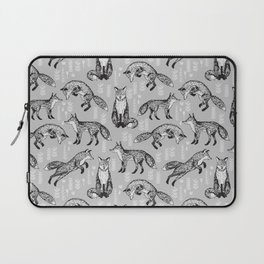Fox pattern drawing foxes cute andrea lauren grey forest animals woodland nursery Laptop Sleeve