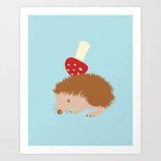 Hedgehog Storing A Mushroom Art Print