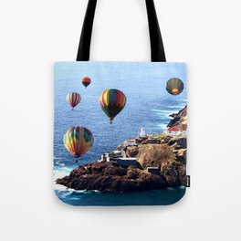 Flying Colorful Hot air Balloons over Newfoundland Tote Bag