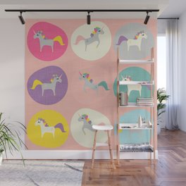 Cute Unicorn polka dots pink pastel colors and linen texture #homedecor #apparel #stationary #kids Wall Mural