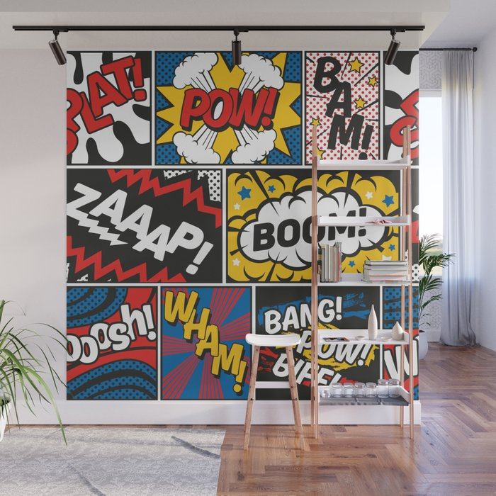 Modern Comic Book Superhero Pattern Color Colour Cartoon Lichtenstein Pop Art Wall Mural By Seasonofvictory Society6