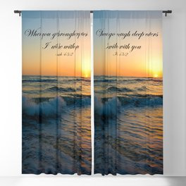 When you go through deep waters I  will be with you Isaiah 43:2 Blackout Curtain