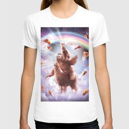 Laser Eyes Space Cat Riding Sloth, Llama - Rainbow T-shirt