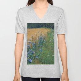 Early Morning, Tuscany, Italy floral landscape painting by Agnes Slott-Møller Unisex V-Neck