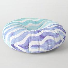 Modern teal purple watercolor wave striped Floor Pillow