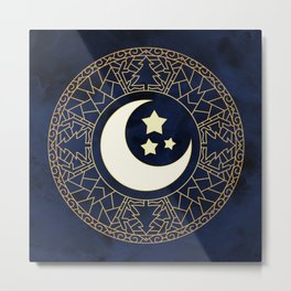 MANDALA MOON AND STARS Metal Print