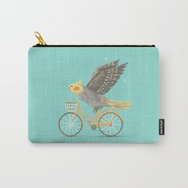 Cockatiel on a Bicycle Carry-All Pouch