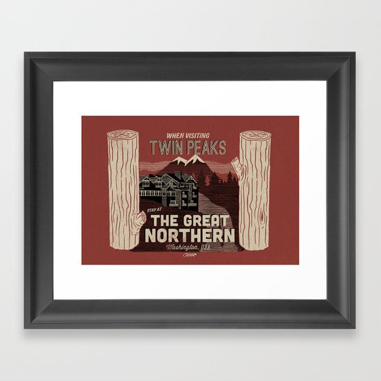 the Great Northern Hotel (Faux Canvas - rust) Framed Art Print