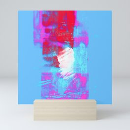 abstract blue pink Mini Art Print