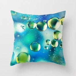 Macro Water Droplets  Aquamarine Soft Green Citron Lemon Yellow and Blue jewel tones Throw Pillow